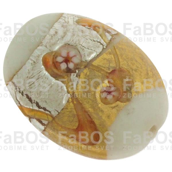 Vinuté korálky Korálek vinutý bílý oválek zdobený - FaBOS