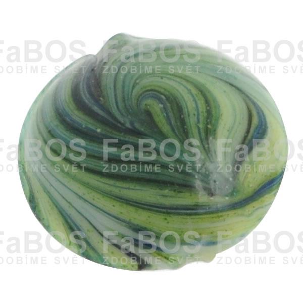 Mačkané korálky Korálek mačkaný zelený velký knoflík - FaBOS