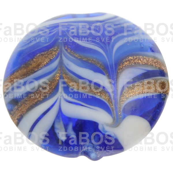 Vinuté korálky Korálek vinutý modrá malá čočka - FaBOS