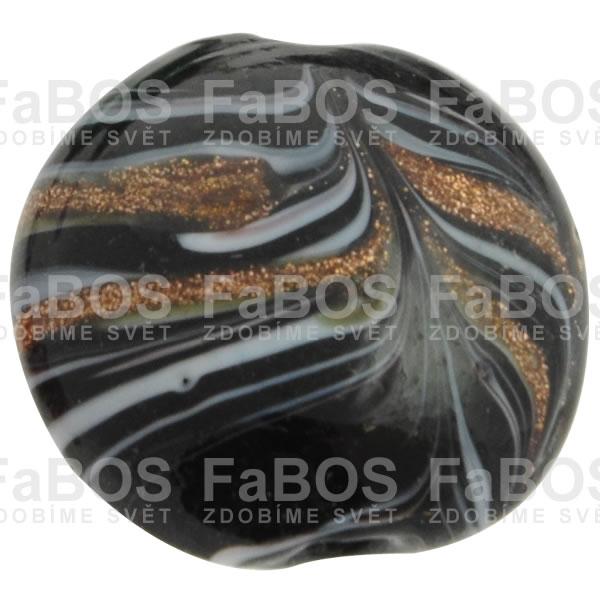 Vinuté korálky Korálek vinutý černá malá čočka - FaBOS