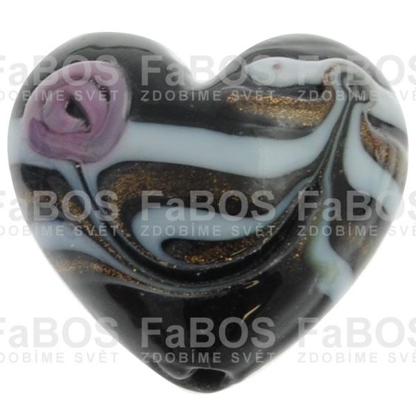Vinuté korálky Korálek vinutý černé pruhované srdce - FaBOS