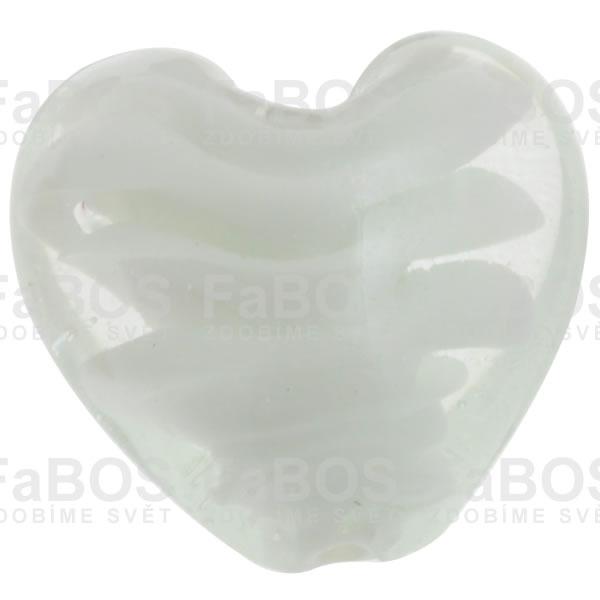 Vinuté korálky Korálek vinutý bílé srdce - FaBOS