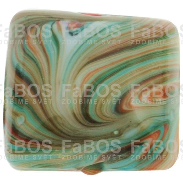 Mačkané korálky Korálek mačkaný tyrkysový čtvereček - FaBOS