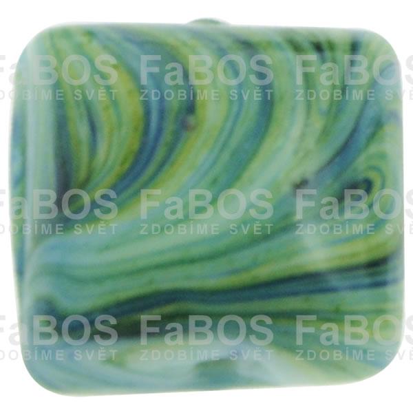 Mačkané korálky Korálek mačkaný zelený čtvereček - FaBOS