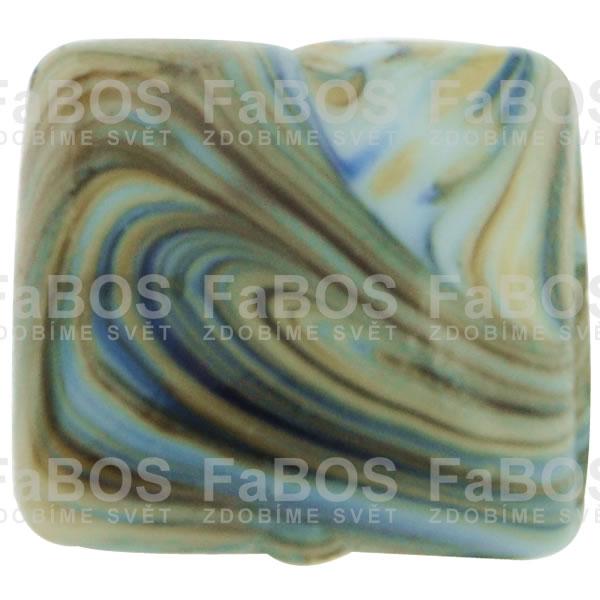 Mačkané korálky Korálek mačkaný modrý čtvereček - FaBOS