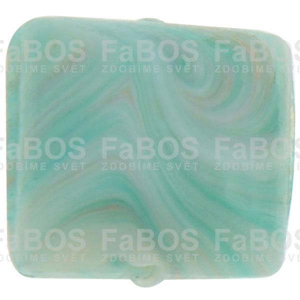 Mačkané korálky Korálek mačkaný světle modrý čtvereček - FaBOS