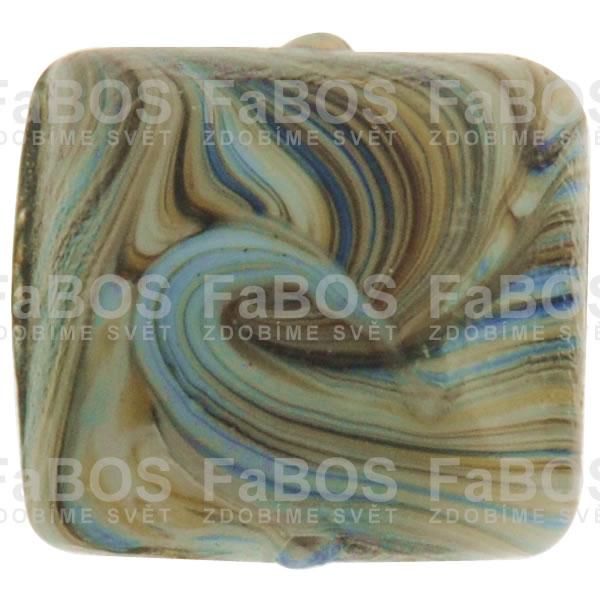 Mačkané korálky Korálek mačkaný hnědomodrý čtvereček - FaBOS