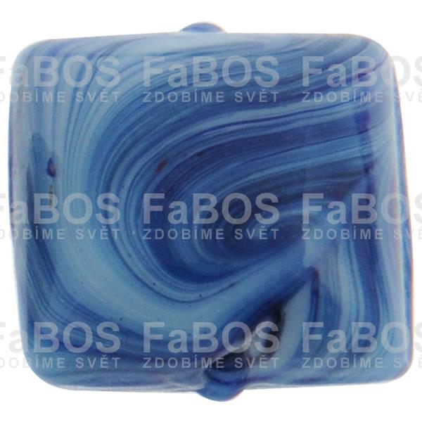 Mačkané korálky Korálek mačkaný tmavě modrý čtvereček - FaBOS