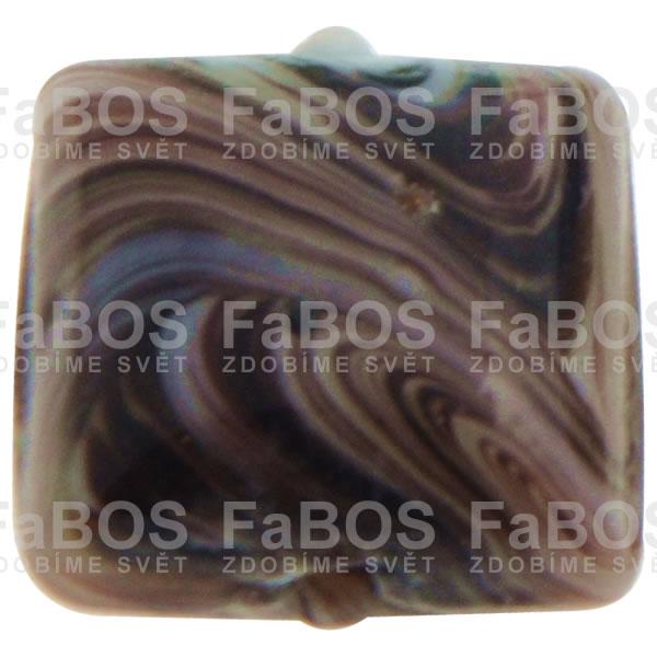 Mačkané korálky Korálek mačkaný tmavě hnědý čtvereček - FaBOS