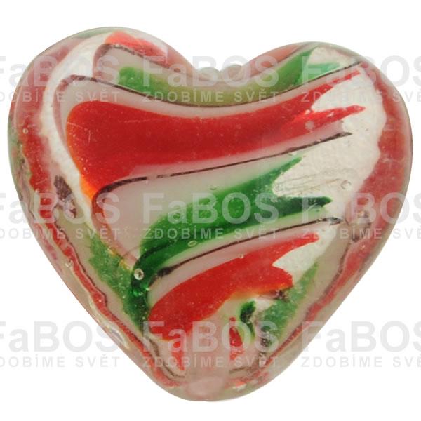 Vinuté korálky Korálek vinutý zeleno červené srdce - FaBOS