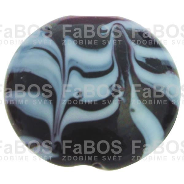 Vinuté korálky Korálek vinutý černá čočka pruhy - FaBOS