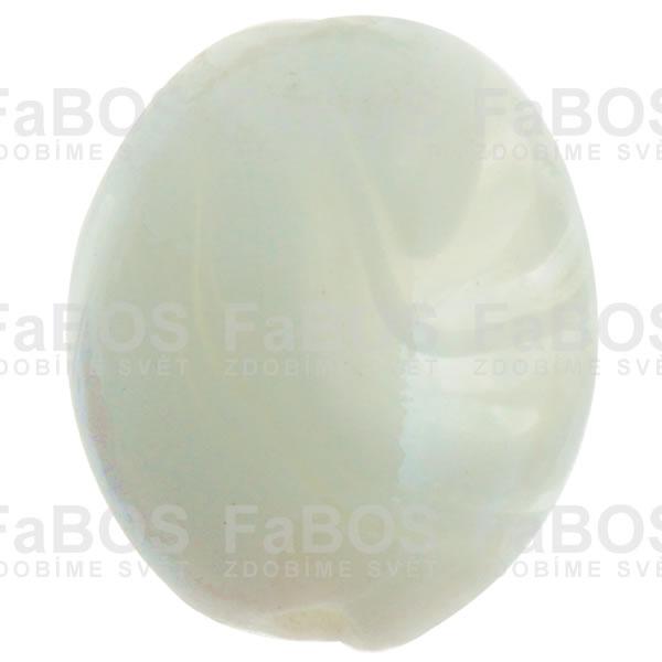 Vinuté korálky Korálek vinutý bílý oválek plochý - FaBOS