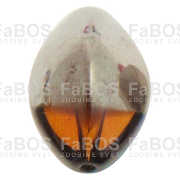 Mačkané korálky Korálek mačkaný oranžová oliva pokovená - FaBOS