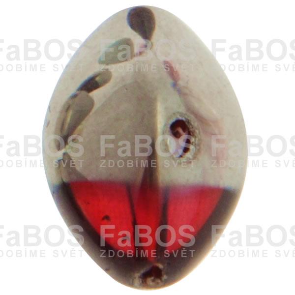 Mačkané korálky Korálek mačkaný červená oliva pokovená - FaBOS