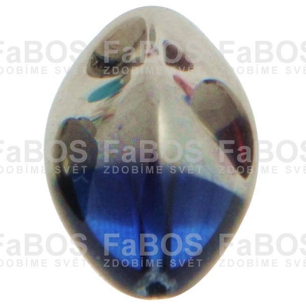 Mačkané korálky Korálek mačkaný modrá oliva pokovená - FaBOS