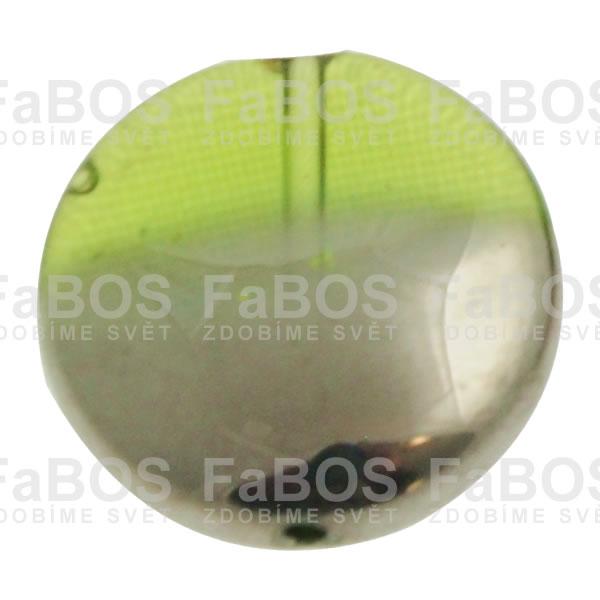 Mačkané korálky Korálek mačkaný zelený knoflík pokovený - FaBOS