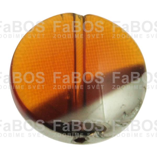 Mačkané korálky Korálek mačkaný oranžový knoflík malý pokovený - FaBOS