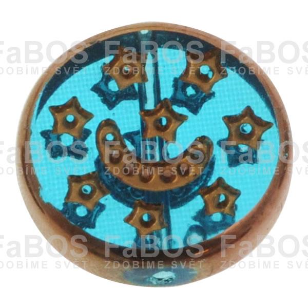 Mačkané korálky Korálek mačkaný tyrkysový zdobený kovem - FaBOS