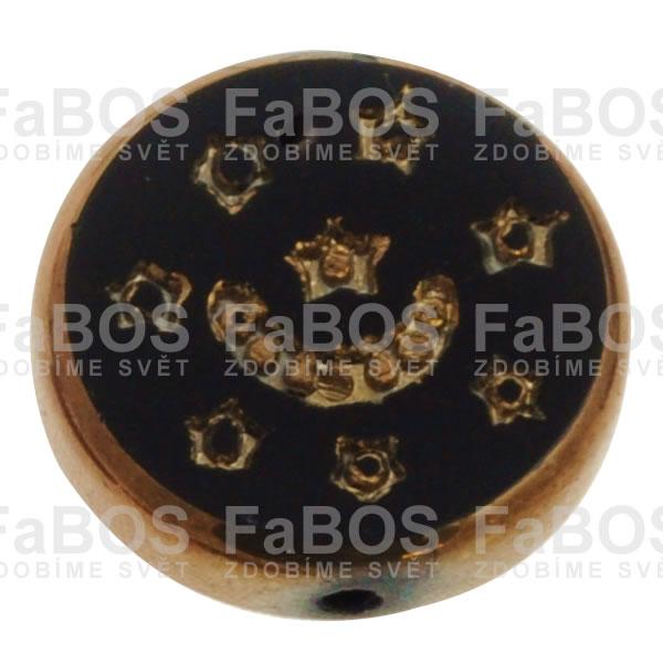 Mačkané korálky Korálek mačkaný černý zdobený kovem - FaBOS