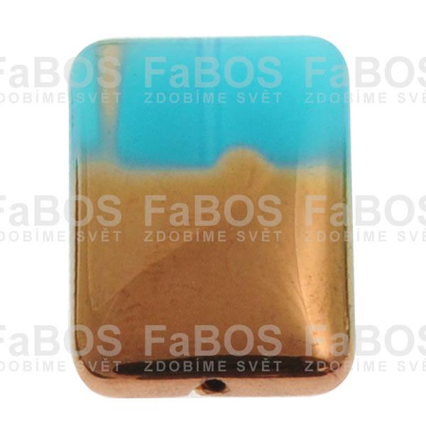 Mačkané korálky Korálek mačkaný modrý obdélník pokovený - FaBOS