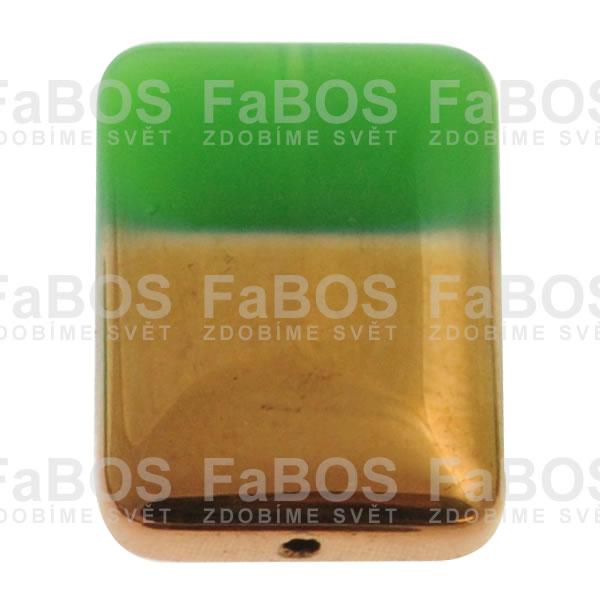 Mačkané korálky Korálek mačkaný zelený obdélník pokovený - FaBOS