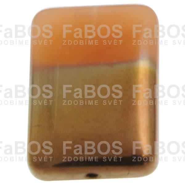 Mačkané korálky Korálek mačkaný oranžový obdélník pokovený - FaBOS