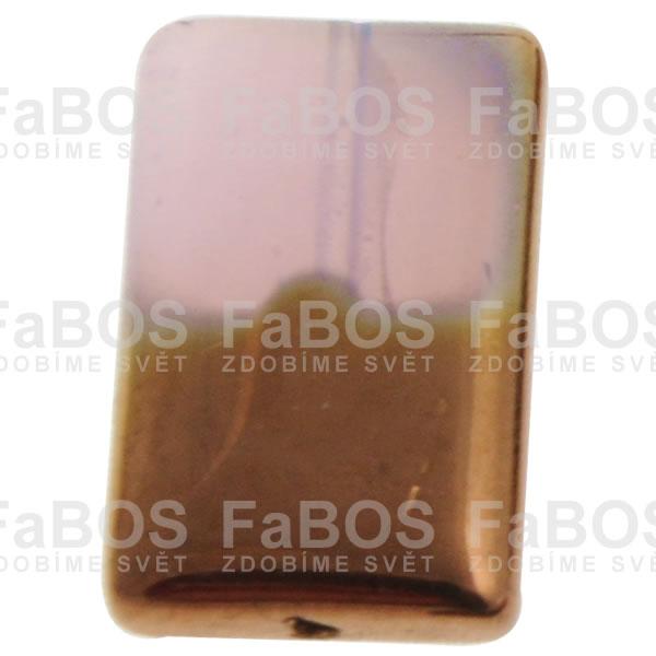 Mačkané korálky Korálek mačkaný růžový obdélník malý pokovený - FaBOS