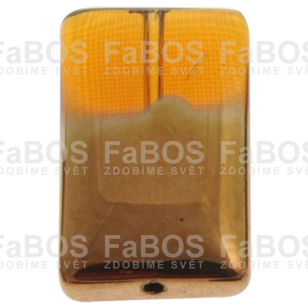 Mačkané korálky Korálek mačkaný oranžový obdélník malý pokovený - FaBOS