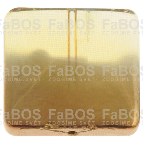 Mačkané korálky Korálek mačkaný žlutý čtverec pokovený - FaBOS