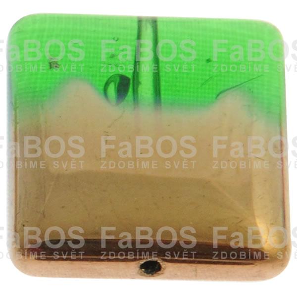 Mačkané korálky Korálek mačkaný zelený čtverec pokovený - FaBOS