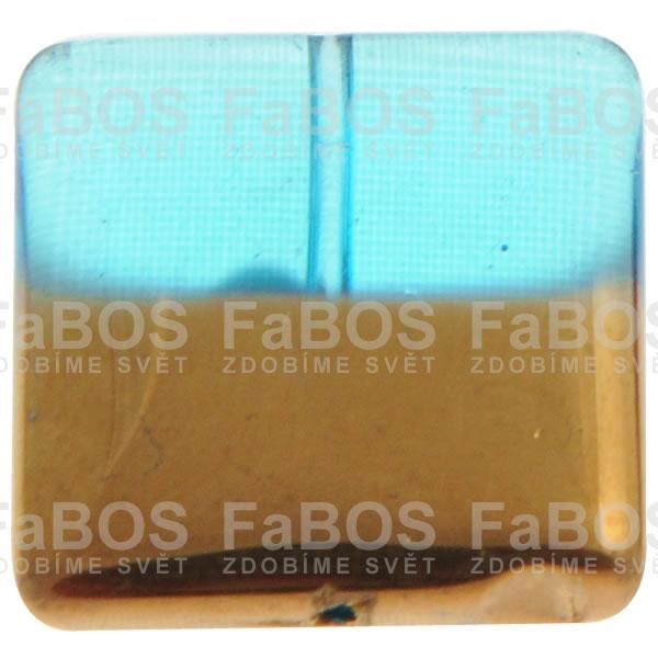 Mačkané korálky Korálek mačkaný modrý čtverec pokovený - FaBOS