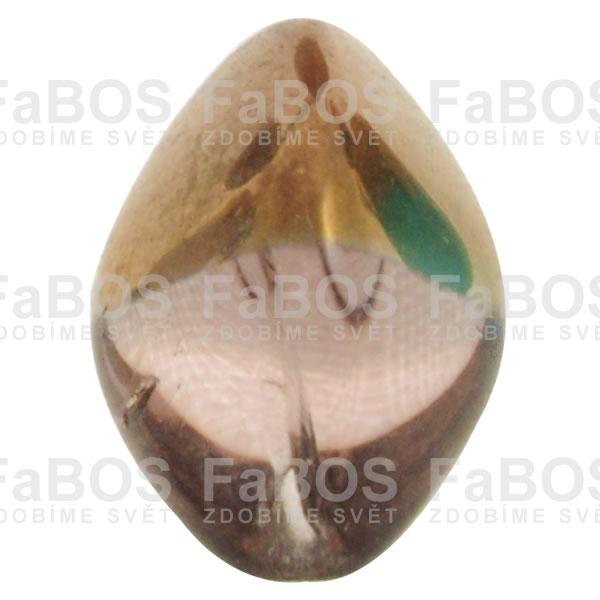Mačkané korálky Korálek mačkaný růžová oliva pokov. - FaBOS