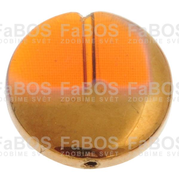 Mačkané korálky Korálek mačkaný oranžový knoflik pokovený - FaBOS