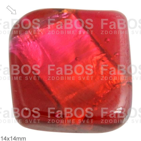 Vinuté korálky Korálek vinutý červený čtvereček  - FaBOS