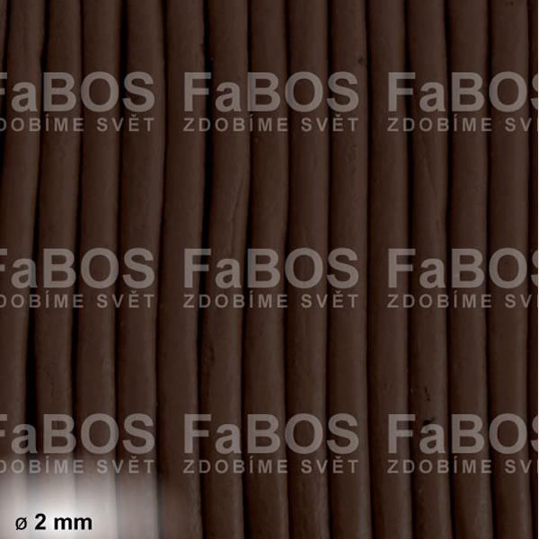 Kůže Kulatá kůže 2 mm hnědá tmavá matná - FaBOS