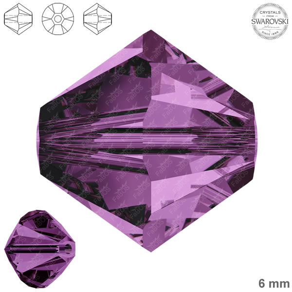 Swarovski Xilion Bead 5328 Swarovski Xilion Bead Amethyst 6mm - FaBOS