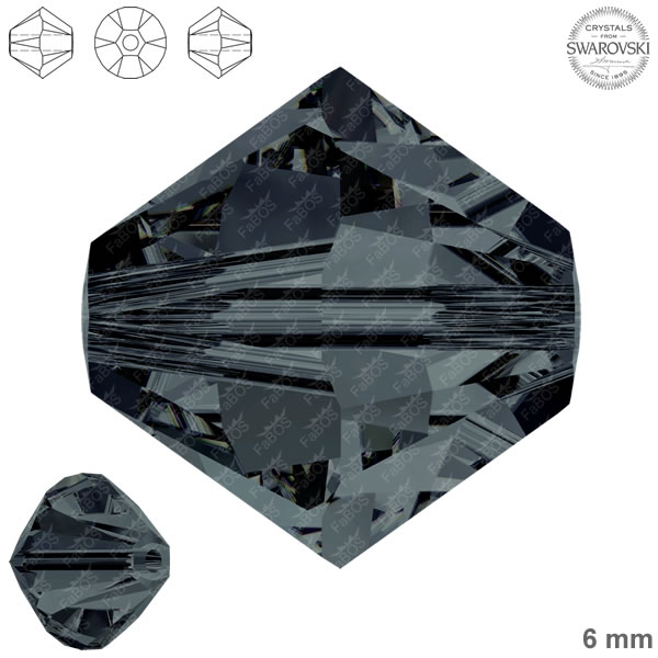 Swarovski Xilion Bead 5328 Swarovski Xilion Bead Graphite 6mm - FaBOS