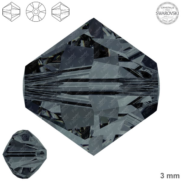 Swarovski Xilion Bead 5328 Swarovski Xilion Bead Graphite 3mm - FaBOS
