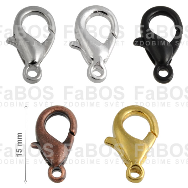 Bižuterní zapínání Bižuterní zapínání karabinka 15mm - FaBOS