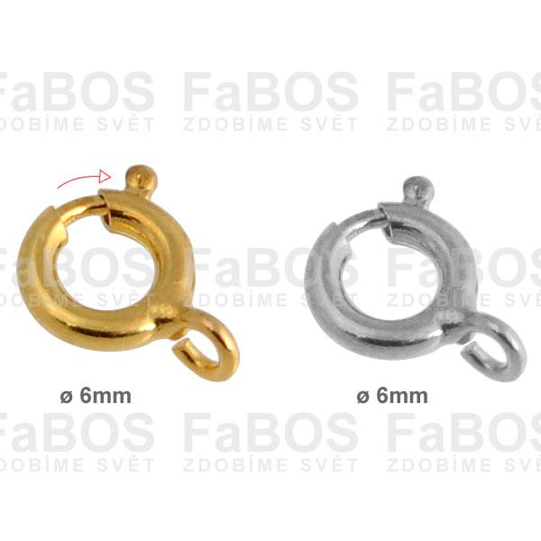 Bižuterní zapínání Bižuterní zapínání pérová záponka 6mm - FaBOS