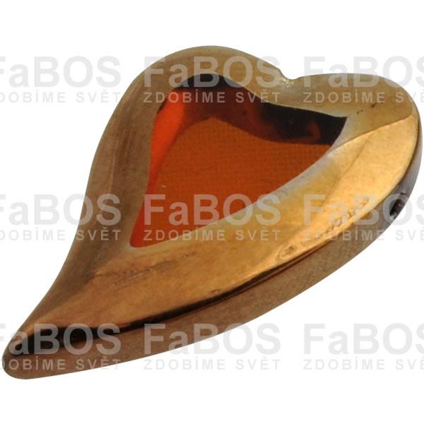 Mačkané korálky Korálek mačkaný oranžové srdce pokov zlatý - FaBOS