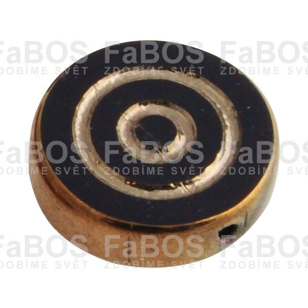 Mačkané korálky Korálek mačkaný černé kolečko pokov zlatý - FaBOS