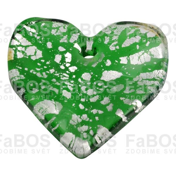 Mačkané korálky Korálek mačkaný zelené srdce - FaBOS