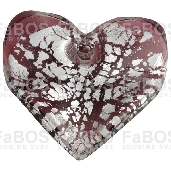Mačkané korálky Korálek mačkaný fialové srdce - FaBOS