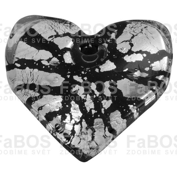 Mačkané korálky Korálek mačkaný černé srdce - FaBOS