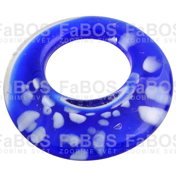 Mačkané korálky Korálek mačkaný modrý kruh - FaBOS
