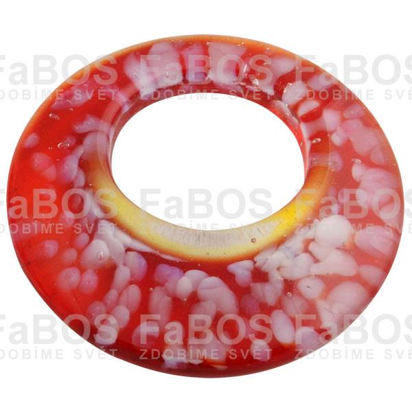 Mačkané korálky Korálek mačkaný červený kruh - FaBOS