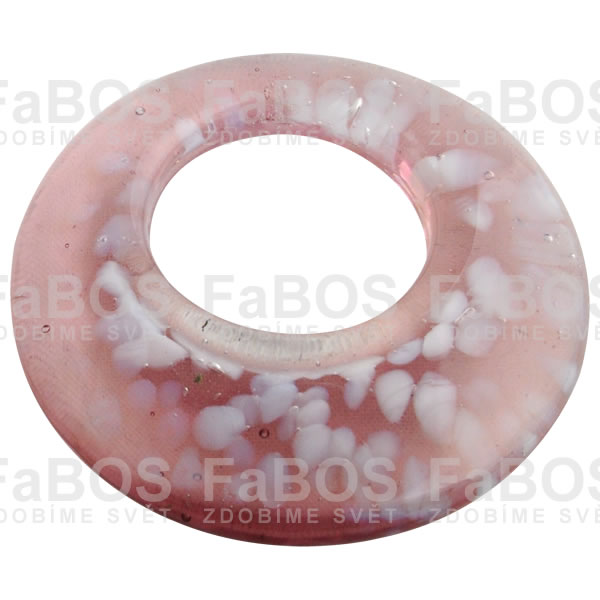 Mačkané korálky Korálek mačkaný růžový kruh - FaBOS