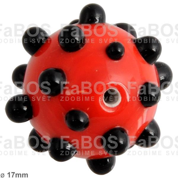 Vinuté korálky Korálek vinutý červená černá kulička puntíky - FaBOS