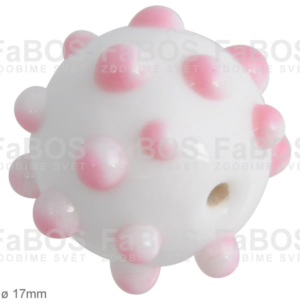 Vinuté korálky Korálek vinutý bílo-růžová kulička puntiky - FaBOS